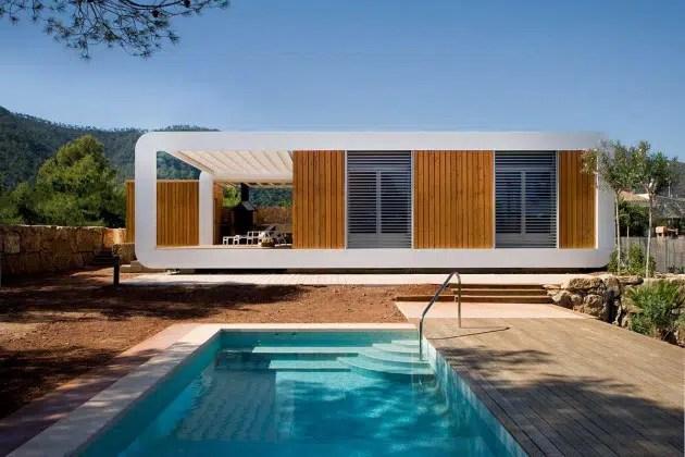 Maison contemporaine prfabrique en bois