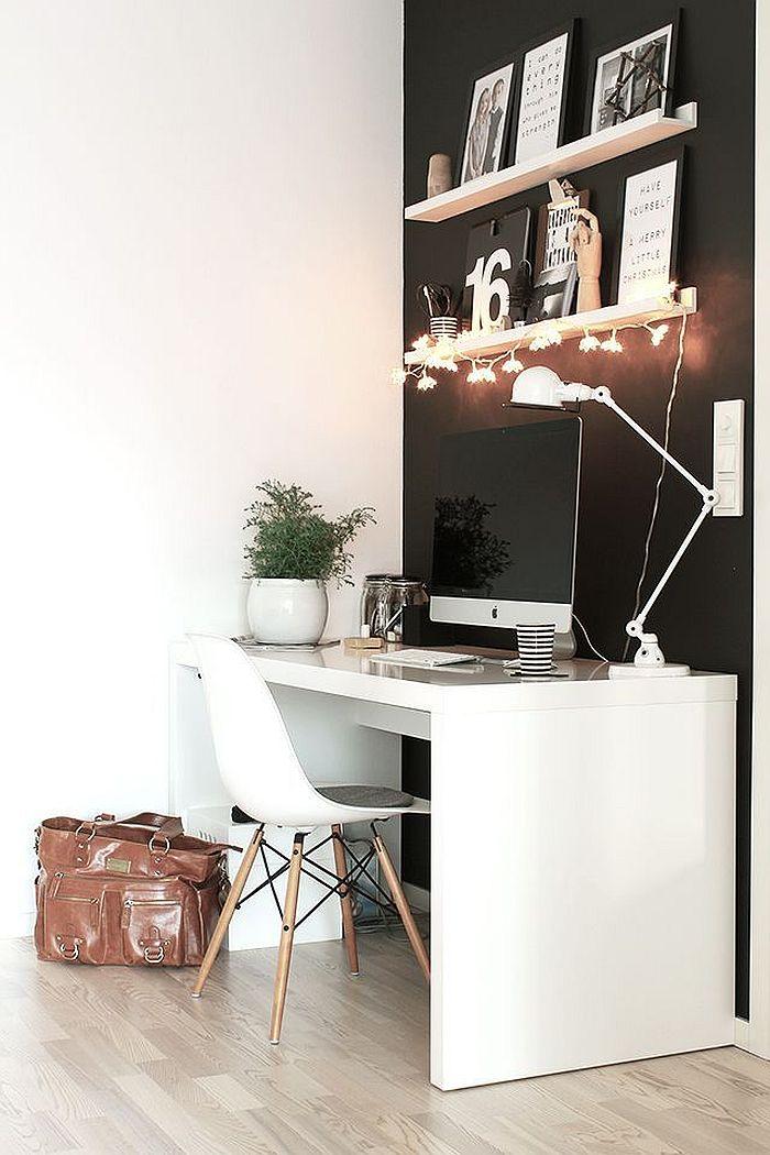 Bureau minimaliste blanc style scandinave
