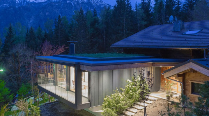 Extension contemporaine chalet bois