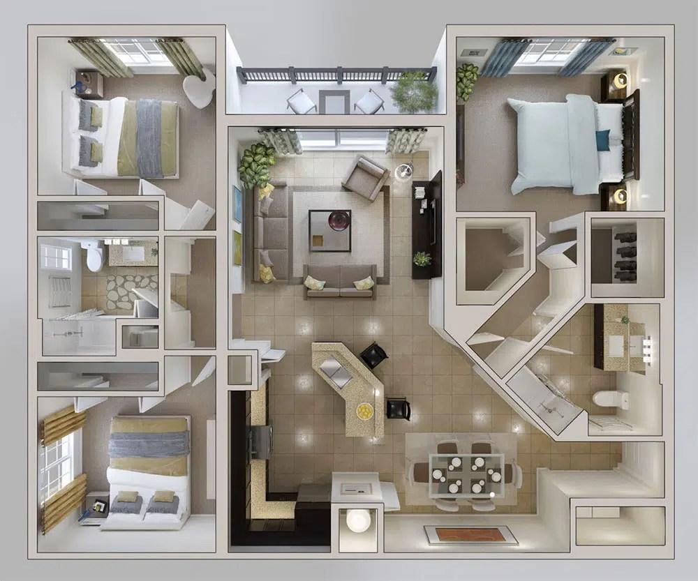 10 plans 3D pour amnager une maison de 3 chambres