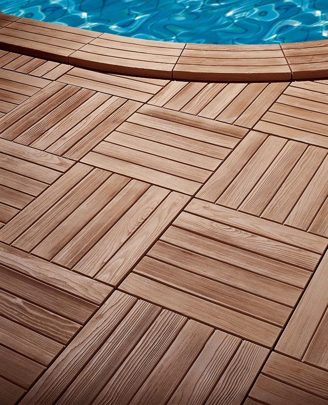 Margelle Piscine Pierre Reconstitue Angle Rentrant 335x335x35 cm Bois