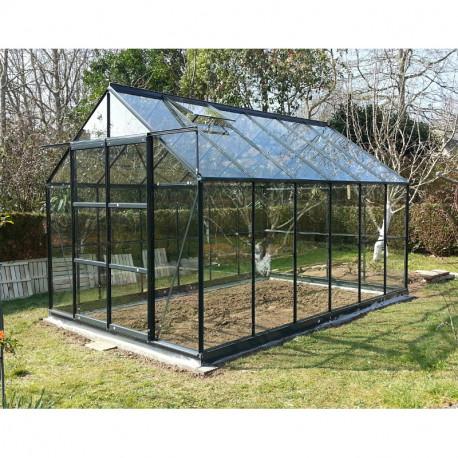 serre de jardin en verre trempe 8 88 m2 gris anthracite