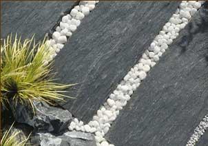 jardin zen avec des pas japonais