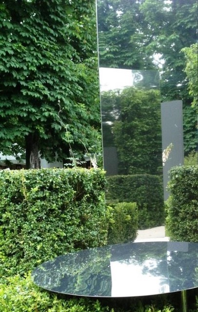 effet visuel miroir jardin