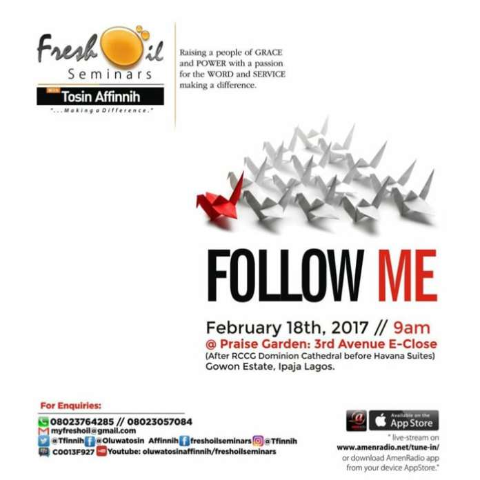 "Fresh Oil Seminar, February 2017 ""Follow Me"" [2017 EDITION]"