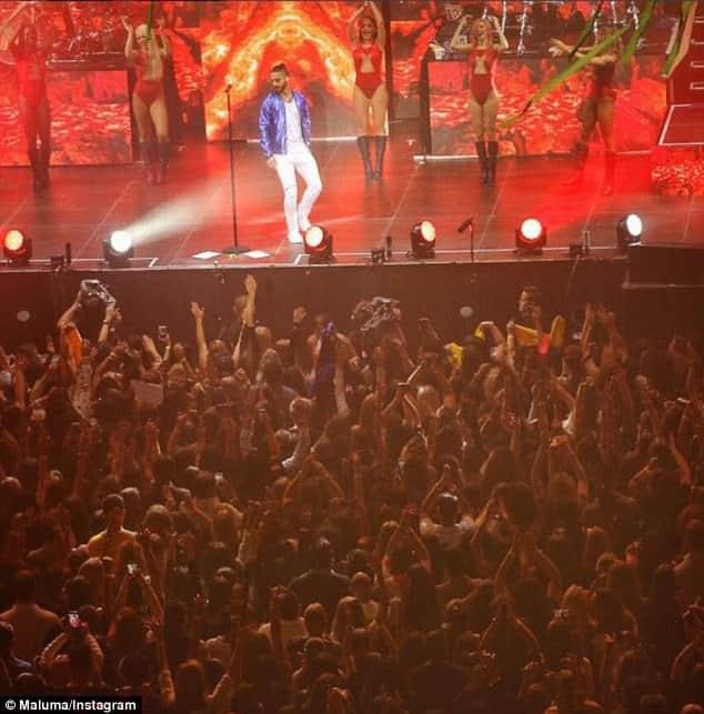 The Maluma show in Amsterdam where Sergio Aguero was in attendance [www.AmenRadio.net]