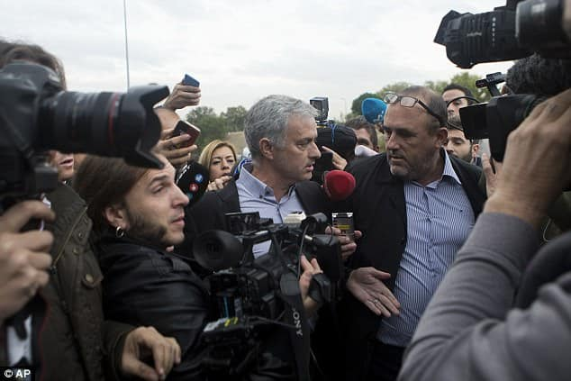 Mourinho speaks with reporters after the brief hearing [www.AmenRadio.net]