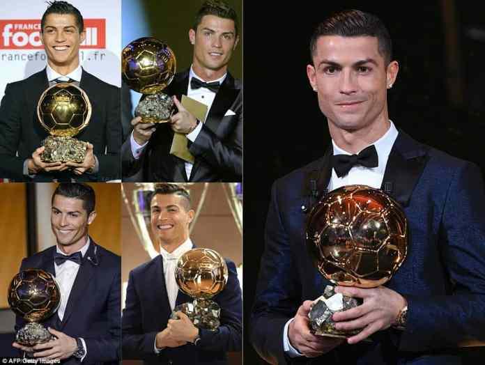 Ronaldo with his 2008, 2013, 2015, 2016 [www.AmenRadio.net]