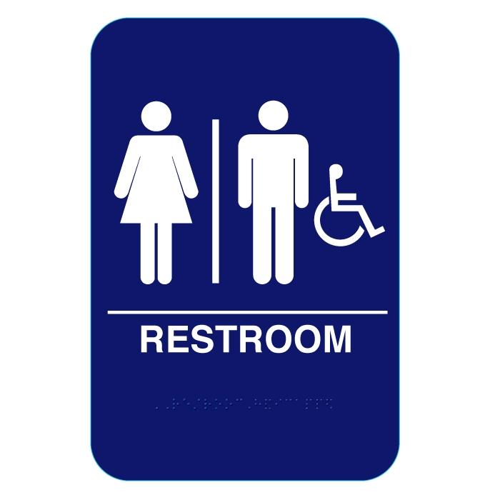 California Approved Unisex Handicap ADA Restroom Sign CR