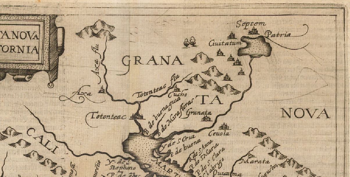 Old world 1597 Map of Granada land
