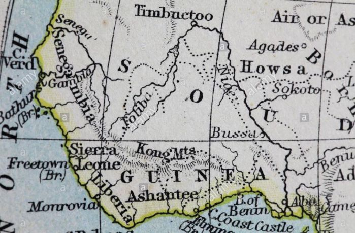 Old World map of Guinea (Ghana)