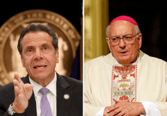 New York Gov. Andrew Cuomo and Bishop Nicholas DiMarzio of Brooklyn, N.Y., are seen in this composite photo. (CNS composite; photos by Shannon Stapleton, Reuters, and Gregory A. Shemitz)