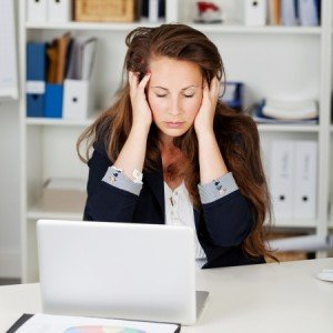 unhappy frustrated angry woman office stress issues