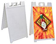 valet sandwich style outdoor banner stand