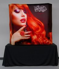BACKLIT Curved Table Top Vburst kit and Unprinted 8ft Black Table Throw, w/Case - $1800