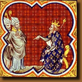 A later illumination showing Archbishop Gregory of Tours as suppliant before a king
