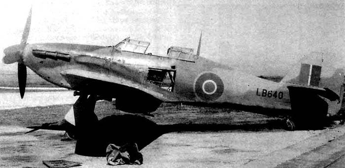 Hurricane Mk I LB640, which was being operated as a target-tug with the P-39-equipped 346th Fighter Squadron, 350th Fighter Group, 12th AF USAAF in Sardinia in early 1944. It was field converted into a two-seater as a liaison plane by the unit's ground crew.