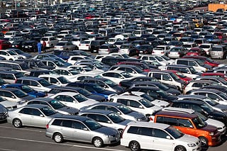 vehicles at an auto auction