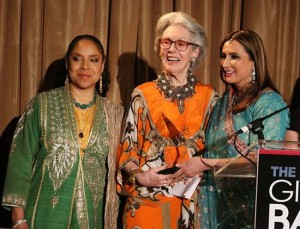 From left to right: Phylicia Rashad, Barbara Tober and Meera Gandhi with the Giving Back Award