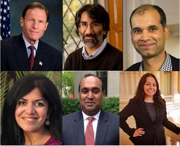 GOPIO-CT awardees to be honored at the Awards Banquet. From top left, clockwise, Senator Richard Blumenthal, Prof. Akhil Reed Amar, Dr. Vinod Srihari, Moh Sharma, Dr. Geroge Joseph and Nisha Arora