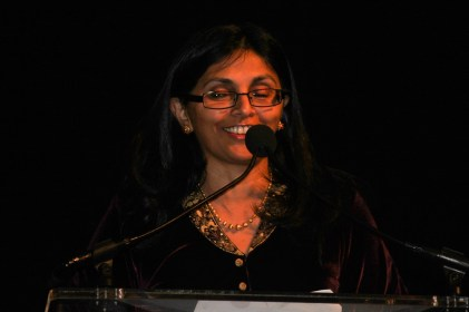 Former Assistant Secretary of State for South and Central Asian Affairs Nisha Desai Biswal speaking at the Indiaspora gala held at Marriott Marquis in Washington, DC, on January 3, 2017. Photo credit: The American Bazaar