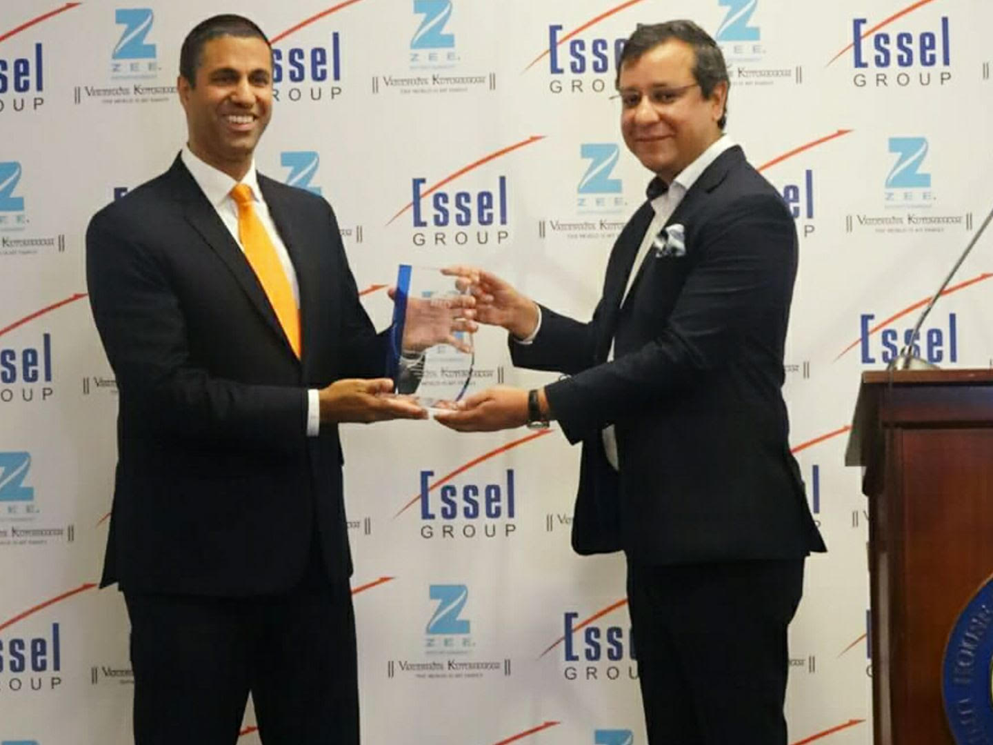Ajit Pai getting the inaugural Zee award