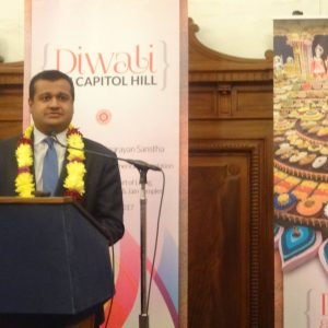 Indian-American Raj Shah, White House Principal Deputy Press Secretary, addressing the crowd at the fourth Diwali celebration on Capitol Hill