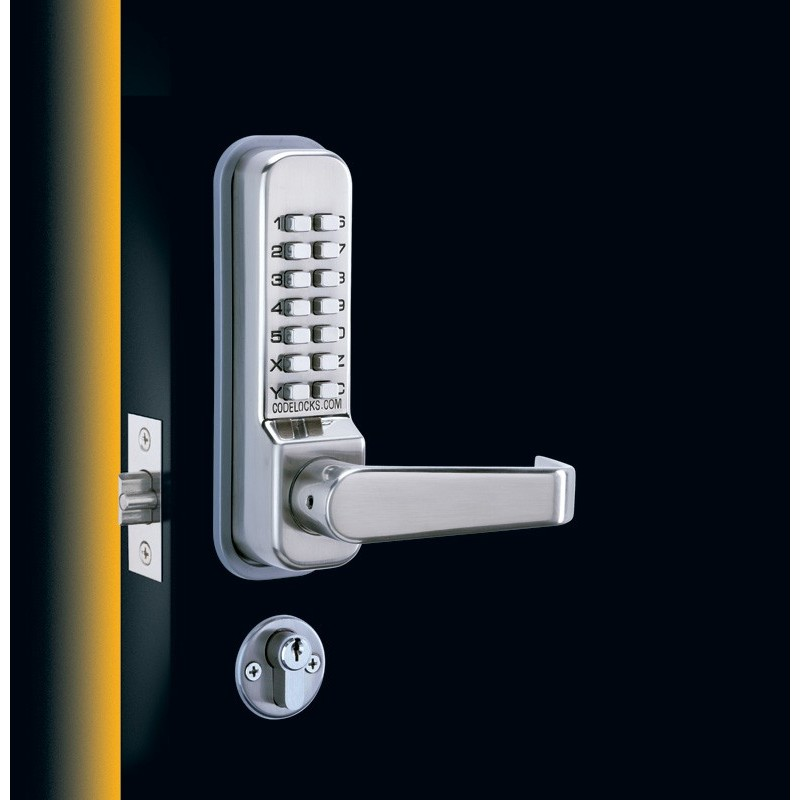 industrial kitchen faucets stainless steel shelf with hooks codelocks cl400 series mechanical lock door lever