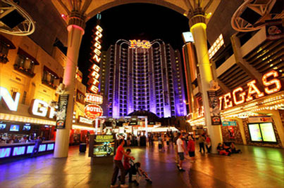 View of the Plaza Hotel & Casino from Fremont Street in downtown Las Vegas