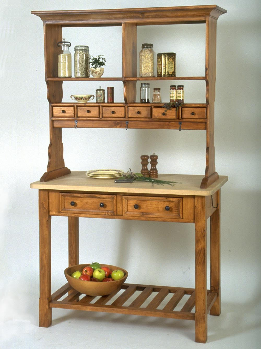 kitchen workbench freestanding pantry southern pine w butcher block top american country
