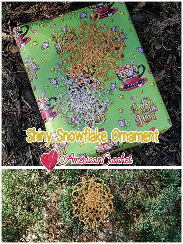 Shiny Snowflake Ornament | Free Crochet Pattern | American Crochet @americancrochet.com #freecrochetpattern