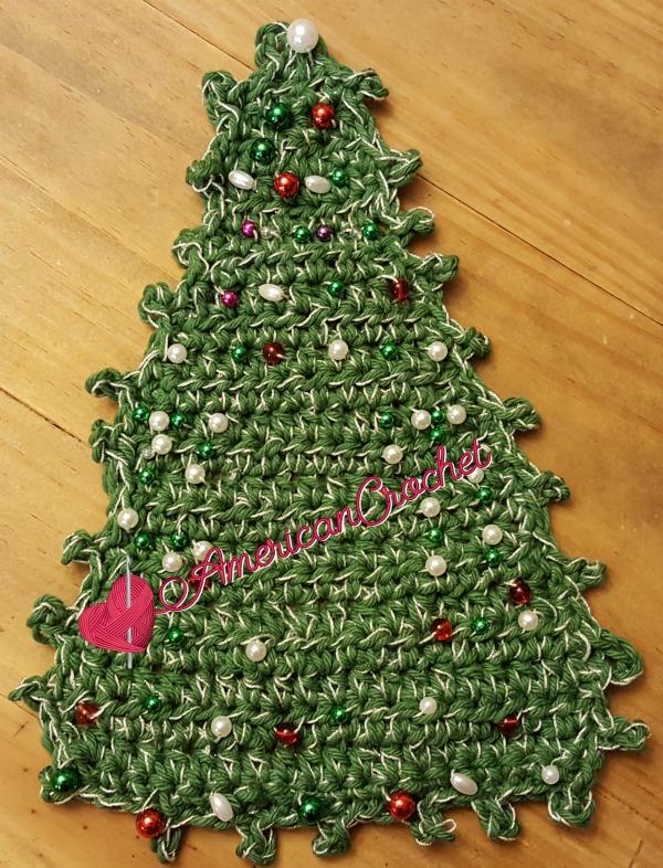 Christmas Tree Coaster   Crochet Pattern   American Crochet @americancrochet.com #crochetpattern