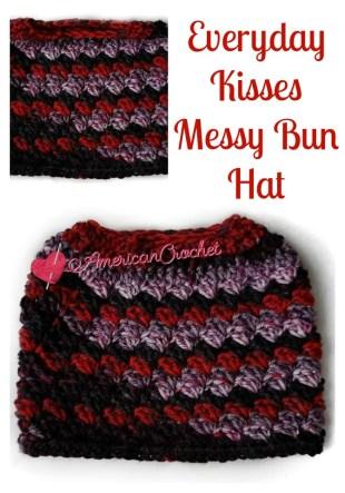 Everyday Kisses Messy Bun Hat | American Crochet @americancrochet.com