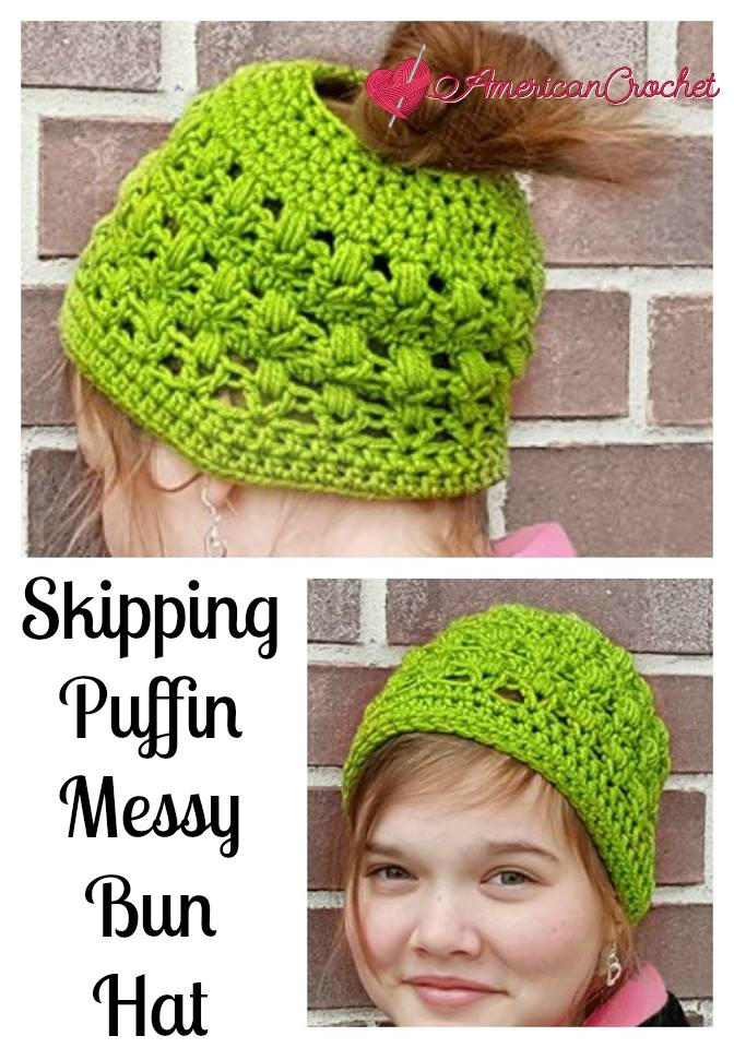 Skipping Puffin Messy Bun Hat