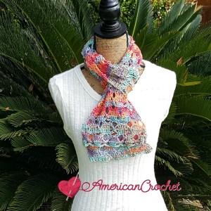 Sweet Rainbow Scarf   Crochet Pattern   American Crochet @americancrochet.com #crochetpattern
