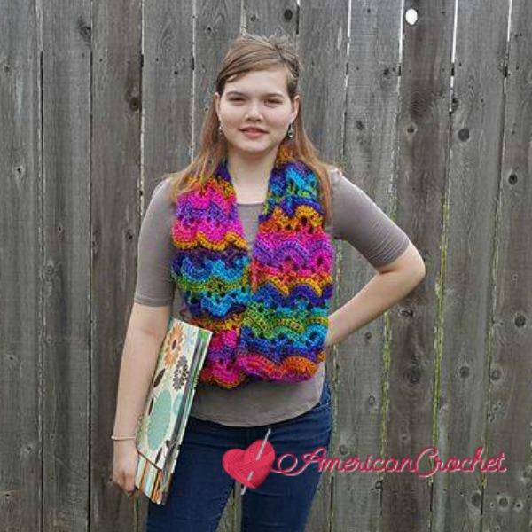 Carnival Promenade Scarf | Free Crochet Pattern | American Crochet @americancrochet.com #freecrochetpattern