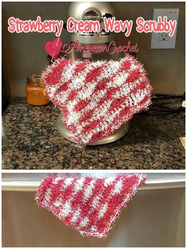 Strawberry Cream Wavy Scrubby | Free Crochet Pattern | American Crochet @americancrochet.com #freecrochetpattern