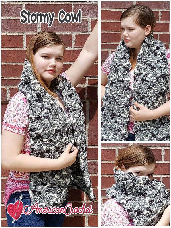 Stromy Cowl | Free Crochet Pattern | American Crochet @americancrochet.com #StormyCowl