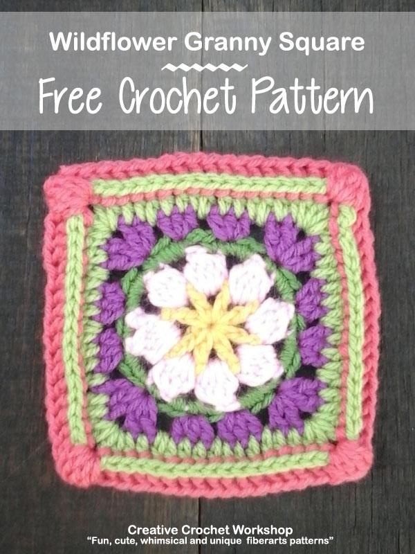 Wildflower GrannySquare - Free Crochet Pattern | Creative Crochet Workshop @creativecrochetworkshop |American Crochet @americancrochet #grannysquare #freecrochetpattern #groovygrannysquarecal
