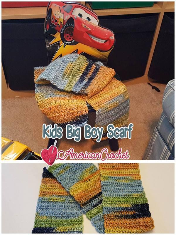Kids Big Boy Scarf | Free Crochet Pattern | American Crochet @americancrochet.com #freecrochetpattern