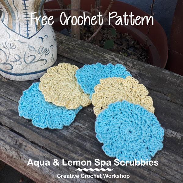 Aqua & Lemon Spa Scrubbies - Free Crochet Pattern   American Crochet @creativecrochetworkshop #crochet #freecrochetpattern #spacrochetgiftalong