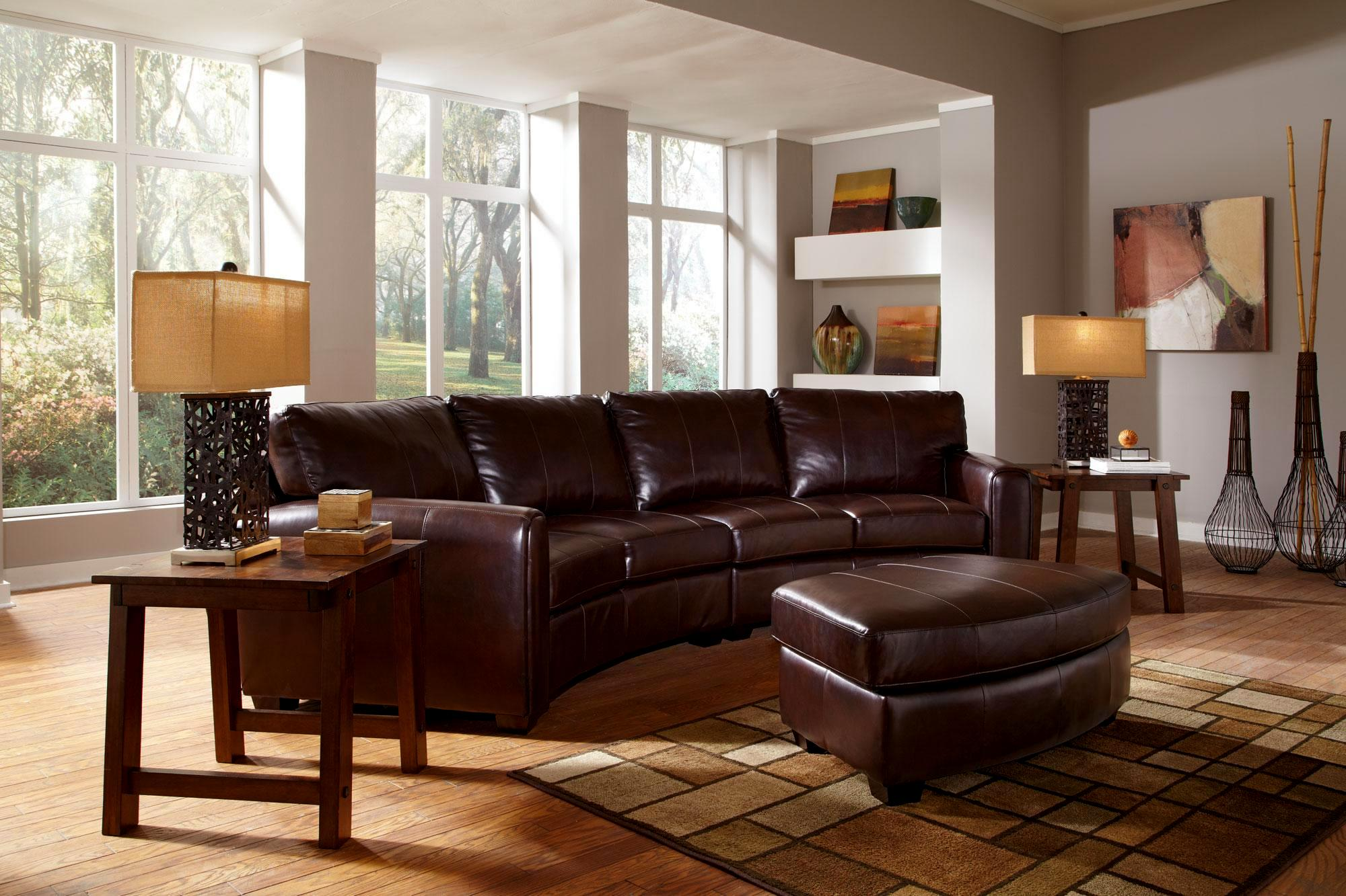 Georgetown Brown Leather Sectional Set