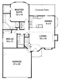 Plan #1103 - Ranch style small house plan w/ Bay windows