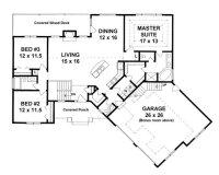Plan #1683 - 3 bedroom Ranch w/ Bonus room above oversized ...