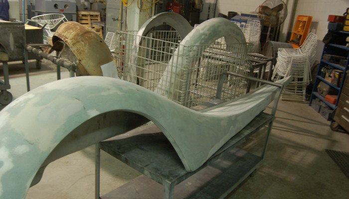 1937 Rolls Royce Fenders after stripping