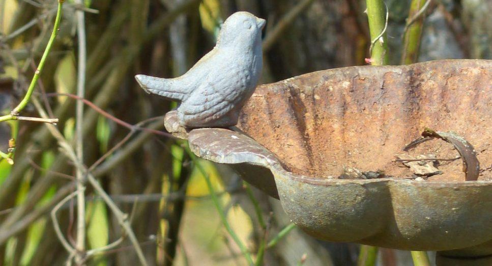 rusted birdbath needs abrasive blasting