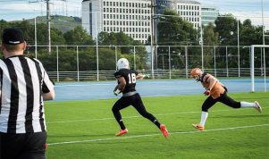 #16 Douglas Hurley scoring the touchdown for Bulls. Photo Marcelo Wieczorek/Fast Food Cultural