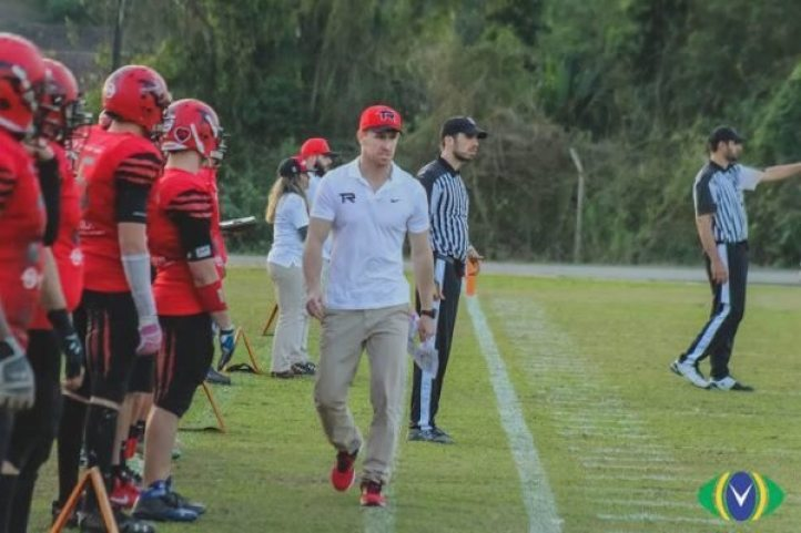 Brazil - Timbo Head Coach, Amadeo Salvador roams the sidelines during their 41-0 victory against Juventude.