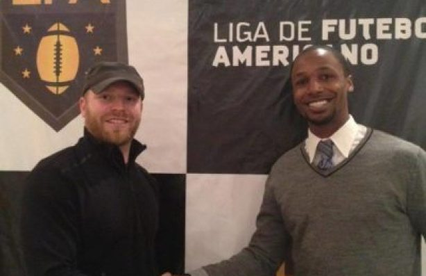 In Brazil for the national player draft of now defunct Liga de Futebol American.