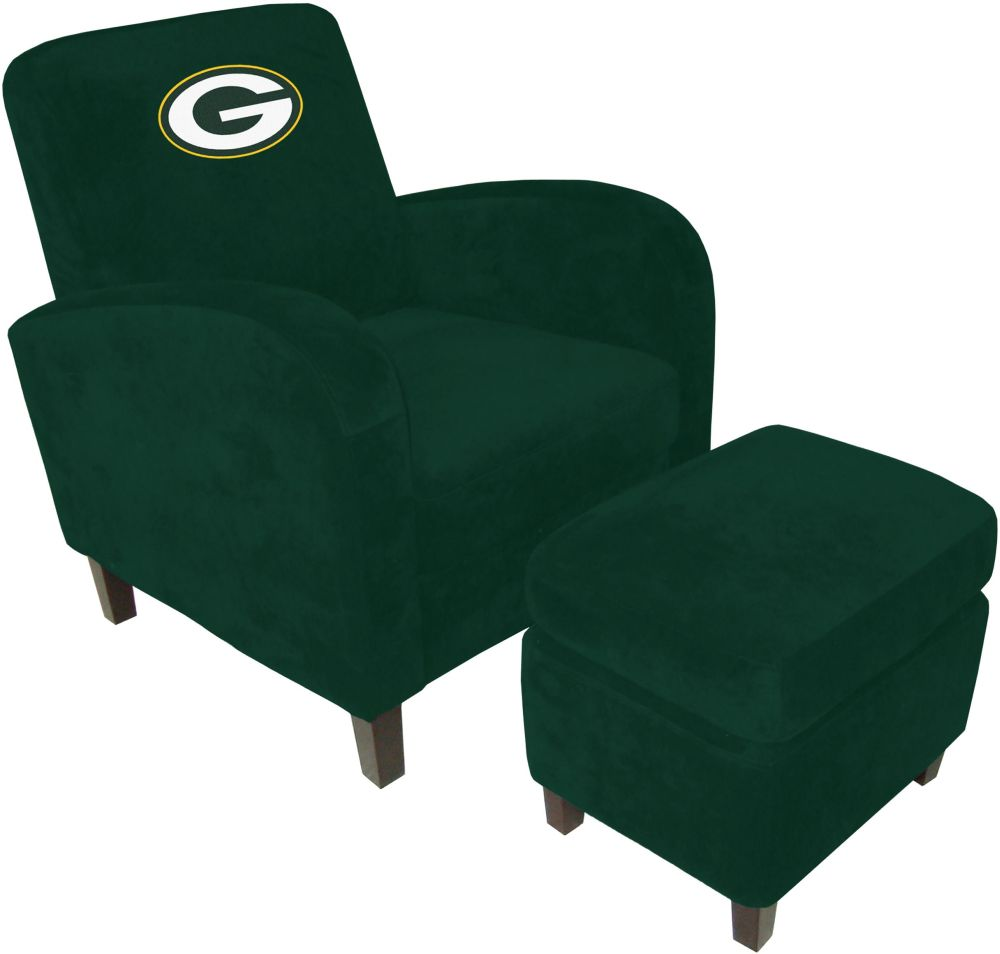 green bay packers chair taupe leather dining chairs uk nfl den with ottoman sofa recliners home theater sofas video